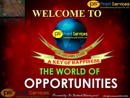 OPPORTUNITIES THE WORLD OF WELCOME TO All right reserved 2013-2014. Presented by : Er.Subhash Sharma pravl.