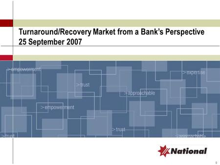 0 Turnaround/Recovery Market from a Bank's Perspective 25 September 2007.