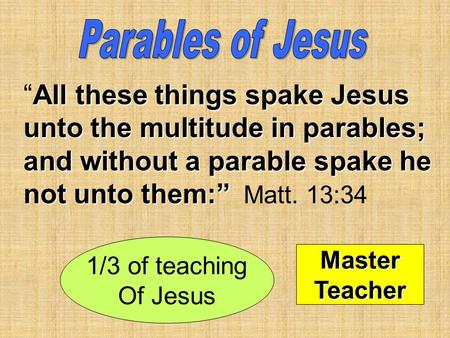 "All these things spake Jesus unto the multitude in parables; and without a parable spake he not unto them:"" ""All these things spake Jesus unto the multitude."