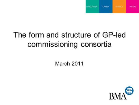 The form and structure of GP-led commissioning consortia March 2011.