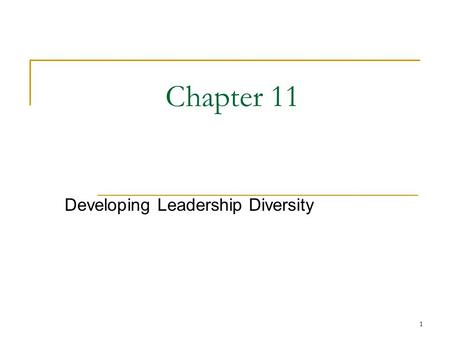 Developing Leadership Diversity