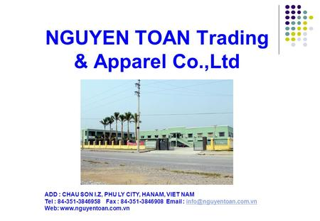 NGUYEN TOAN Trading & Apparel Co.,Ltd