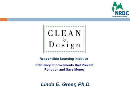 Efficiency Improvements that Prevent Pollution and Save Money Responsible Sourcing Initiative Linda E. Greer, Ph.D.