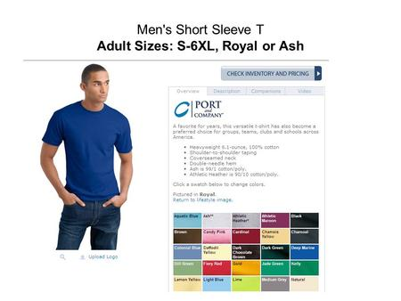 Men's Short Sleeve T Adult Sizes: S-6XL, Royal or Ash.