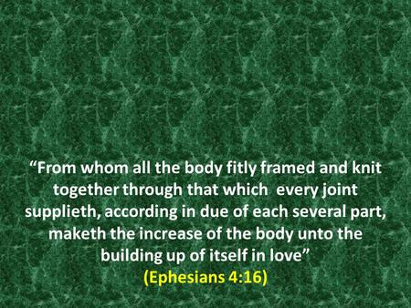"""From whom all the body fitly framed and knit together through that which every joint supplieth, according in due of each several part, maketh the increase."