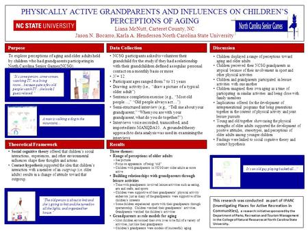 PHYSICALLY ACTIVE GRANDPARENTS AND INFLUENCES ON CHILDREN'S PERCEPTIONS OF AGING Liana McNutt, Carteret County, NC Jason N. Bocarro, Karla A. Henderson.