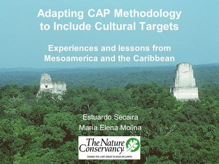 Adapting CAP Methodology to Include Cultural Targets Experiences and lessons from Mesoamerica and the Caribbean Estuardo Secaira María Elena Molina.