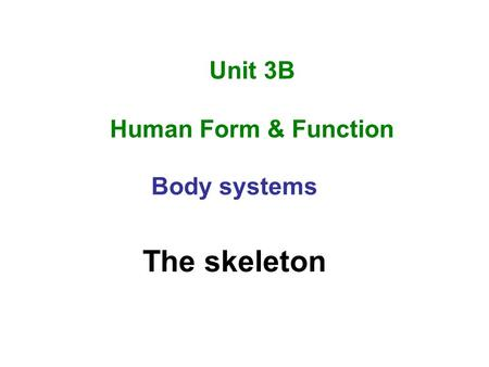 Unit 3B Human Form & Function Body systems The skeleton.