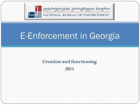 Creation and functioning 2011 E-Enforcement in Georgia.