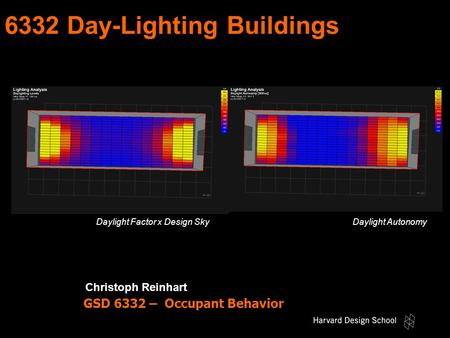 6332 Day-Lighting Buildings Christoph Reinhart Energy Occupant Behavior Rules of Thumb Energy Considerations GSD 6332 – Occupant Behavior Occupant BehaviorEnergy.