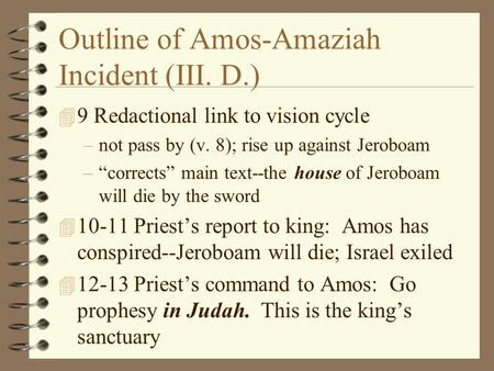 Outline of Amos-Amaziah Incident (III. D.)