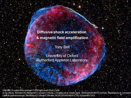 Diffusive shock acceleration & magnetic field amplification Tony Bell University of Oxford Rutherford Appleton Laboratory SN1006: A supernova remnant 7,000.