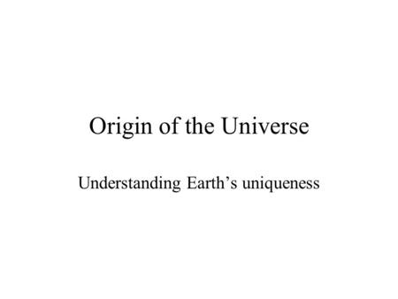 theories of the origin of the universe pdf