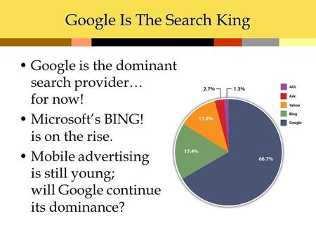 Google Is The Search King Google is the dominant search provider… for now! Microsoft's BING! is on the rise. Mobile advertising is still young; will Google.