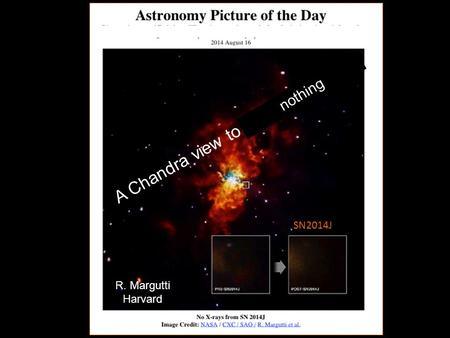 A Chandra view to Exploding Stars SN2014J R. Margutti Harvard nothing.