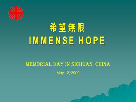 Memorial Day in Sichuan, China May 12, 2009. A year after the devastating earthquake hit Sichuan China, different Church groups and NGOs including CARITAS.