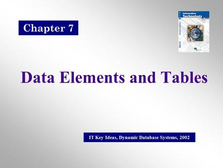 Data Elements and Tables IT Key Ideas, Dynamic Database Systems, 2002 Chapter 7.