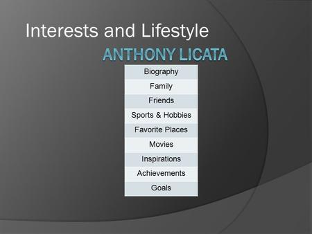 Interests and Lifestyle Biography Family Friends Sports & Hobbies Favorite Places Movies Inspirations Achievements Goals.