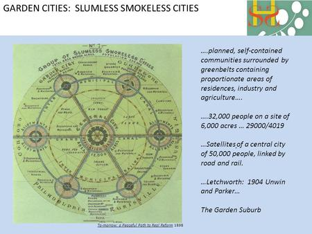 GARDEN CITIES: SLUMLESS SMOKELESS CITIES To-morrow: a Peaceful Path to Real Reform 1898 ….planned, self-contained communities surrounded by greenbelts.