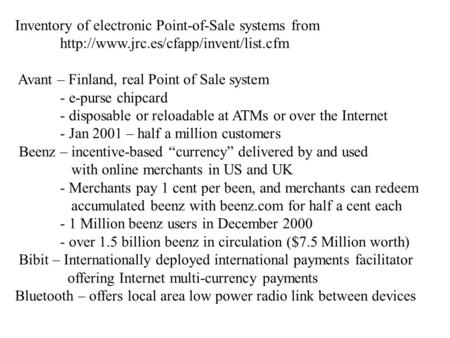 Inventory of electronic Point-of-Sale systems from  Avant – Finland, real Point of Sale system - e-purse chipcard.