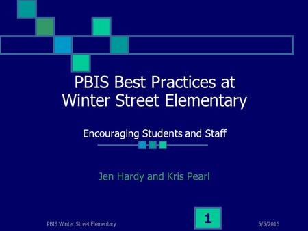 5/5/2015PBIS Winter Street Elementary 1 PBIS Best Practices at Winter Street Elementary Encouraging Students and Staff Jen Hardy and Kris Pearl.