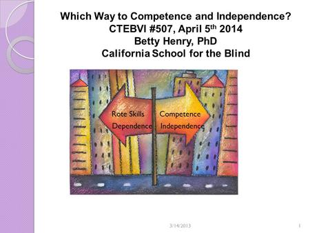Which Way to Competence and Independence? CTEBVI #507, April 5 th 2014 Betty Henry, PhD California School for the Blind Rote Skills Competence Dependence.