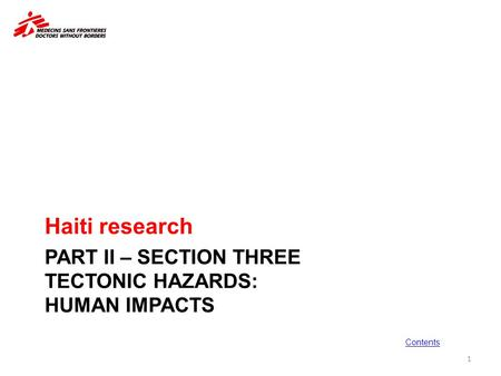 PART II – <strong>SECTION</strong> THREE Tectonic hazards: human impacts