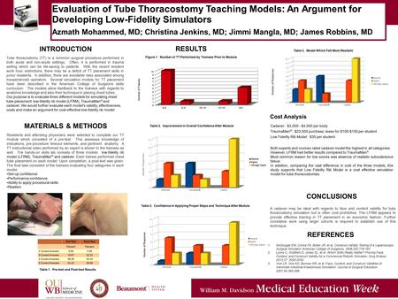 5/5/14 Evaluation of Tube Thoracostomy Teaching Models: An Argument for Developing Low-Fidelity Simulators Azmath Mohammed, MD; Christina Jenkins, MD;