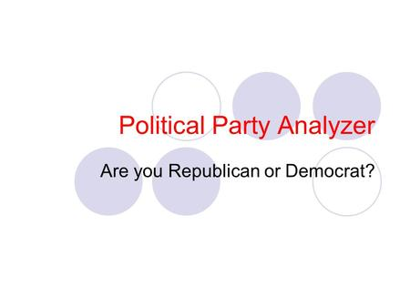 Political Party Analyzer Are you Republican or Democrat?