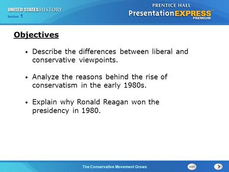 Objectives Describe the differences between liberal and conservative viewpoints. Analyze the reasons behind the rise of conservatism in the early 1980s.