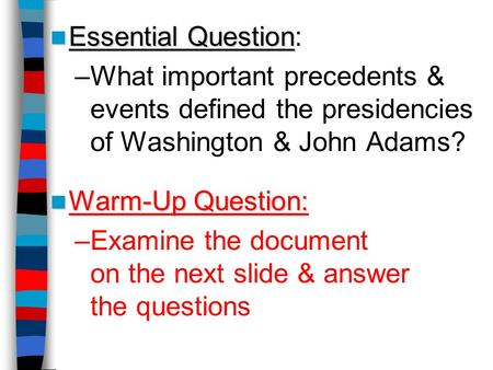 Examine the document on the next slide & answer the questions