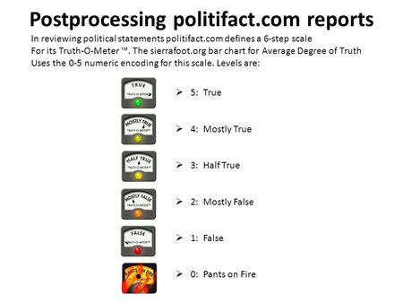 Postprocessing politifact.com reports In reviewing political statements politifact.com defines a 6-step scale For its Truth-O-Meter ™. The sierrafoot.org.