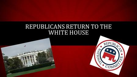REPUBLICANS RETURN TO THE WHITE HOUSE. NOT PROGRESSIVE ANYMORE… Remember the Progressive Era? Who were the Progressives trying to help? Why? The Republican's.