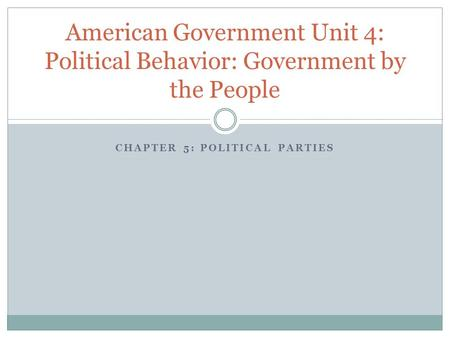 CHAPTER 5: POLITICAL PARTIES American Government Unit 4: Political Behavior: Government by the People.