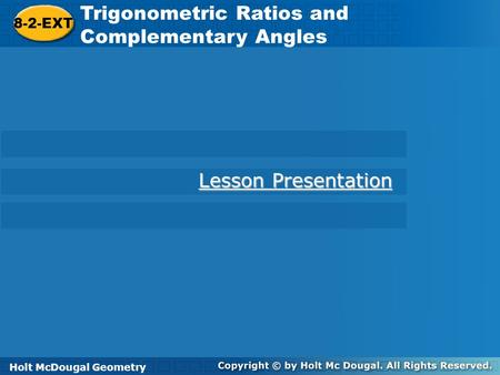 Trigonometric Ratios and Complementary Angles