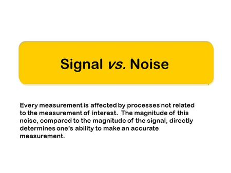 Signal vs. Noise Every measurement is affected by processes not related to the measurement of interest. The magnitude of this noise, compared to the magnitude.