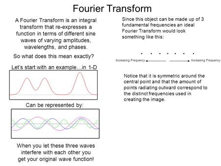 Fourier Transform A Fourier Transform is an integral transform that re-expresses a function in terms of different sine waves of varying amplitudes, wavelengths,