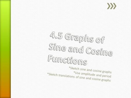 *Sketch sine and cosine graphs *Use amplitude and period *Sketch translations of sine and cosine graphs.