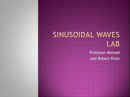 Professor Ahmadi and Robert Proie.  Learn to Mathematically Describe Sinusoidal Waves  Refresh Complex Number Concepts.