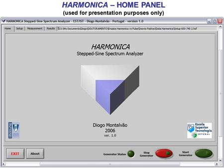 HARMONICA – HOME PANEL (used for presentation purposes only)