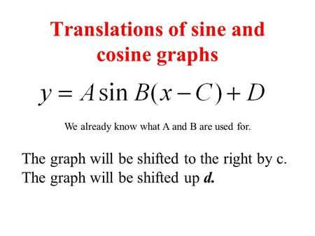 Translations of sine and cosine graphs The graph will be shifted to the right by c. The graph will be shifted up d. We already know what A and B are used.