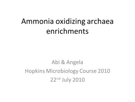 Ammonia oxidizing archaea enrichments Abi & Angela Hopkins Microbiology Course 2010 22 nd July 2010.