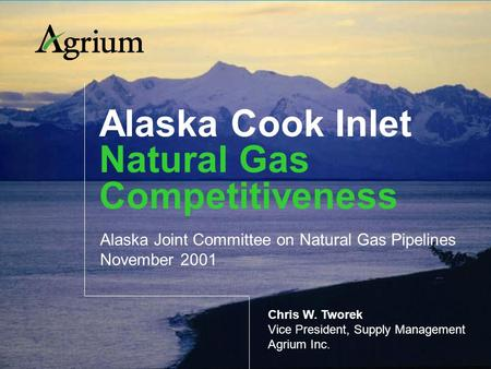 Alaska Cook Inlet Natural Gas Competitiveness Alaska Joint Committee on Natural Gas Pipelines November 2001 Chris W. Tworek Vice President, Supply Management.