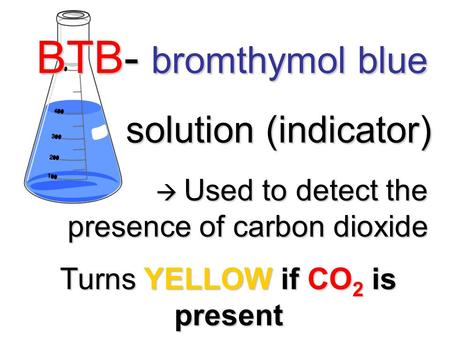 BTB- bromthymol blue solution (indicator) solution (indicator)  Used to detect the presence of carbon dioxide  Used to detect the presence of carbon.