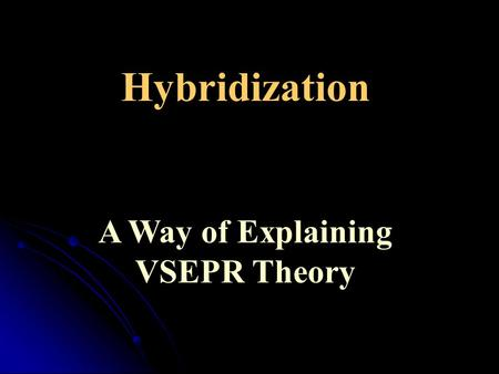 Hybridization A Way of Explaining VSEPR Theory. Covalent bonding Modern methods for describing bonding make use of quantum mechanical methods and describe.