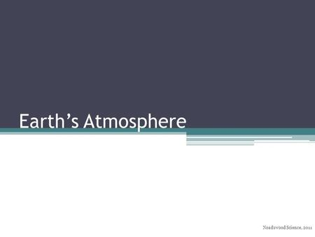 Earth's Atmosphere Noadswood Science, 2011. Earth's Atmosphere To know how the Earth's atmosphere has changed over time Tuesday, May 05, 2015.