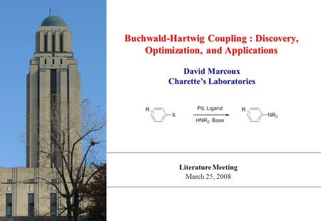 Literature Meeting March 25, 2008 Buchwald-Hartwig Coupling : Discovery, Optimization, and Applications David Marcoux Charette's Laboratories.