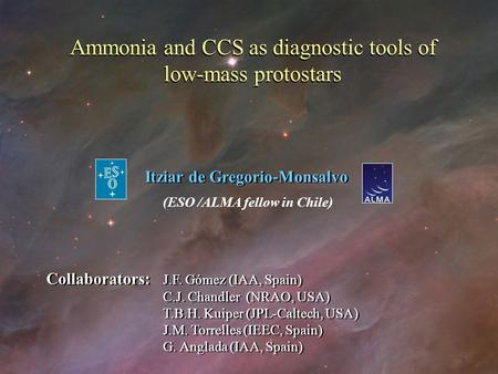 Ammonia and CCS as diagnostic tools of low-mass protostars Ammonia and CCS as diagnostic tools of low-mass protostars Itziar de Gregorio-Monsalvo (ESO.