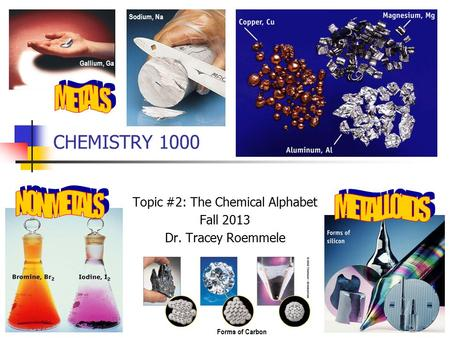 CHEMISTRY 1000 Topic #2: The Chemical Alphabet Fall 2013 Dr. Tracey Roemmele Gallium, Ga Sodium, Na Forms of Carbon.