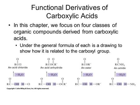 In this chapter, we focus on four classes of organic compounds derived from carboxylic acids. Under the general formula of each is a drawing to show how.
